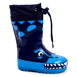 Apawwa Botas de chuva de borracha para crianças Tubarão Mordeso Azul marinho