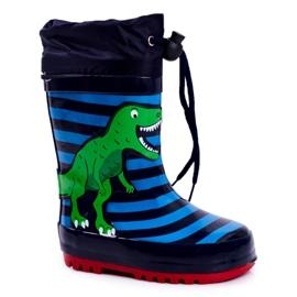 Apawwa Galochas de borracha para crianças Dinossauro azul marinho Mordeso verde