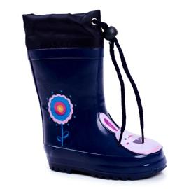 Apawwa Botas de chuva infantil de borracha Azul Marinho Coelho Mordeso rosa