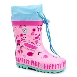 Bl&Ki Botas de chuva de borracha para crianças rosa coelho hippity hop