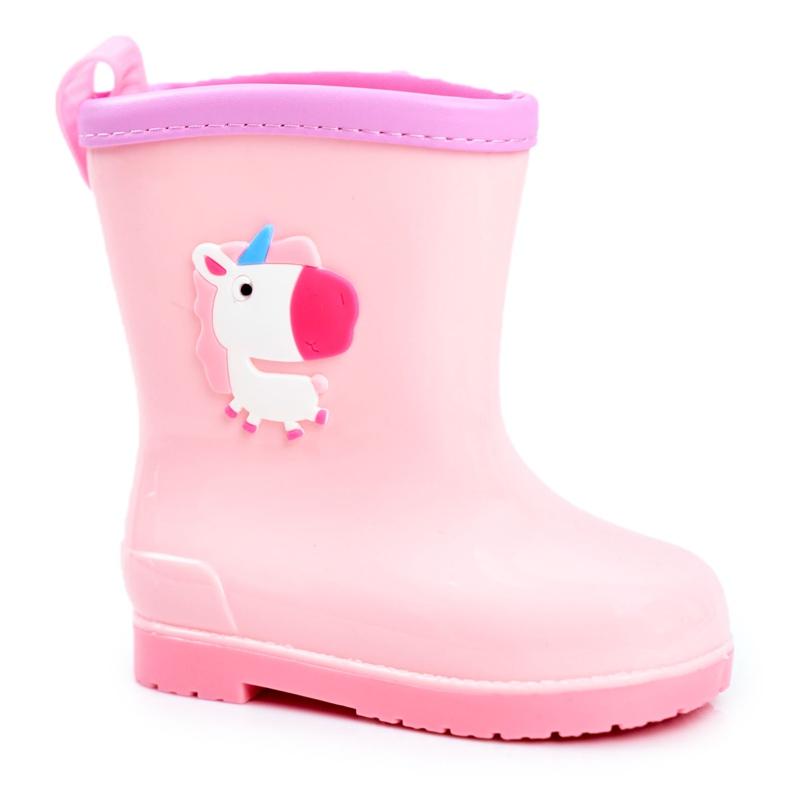 Botas de chuva de borracha para crianças Pink Unicorn rosa