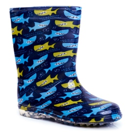 Botas de chuva de borracha para crianças. Azul marinho Shark