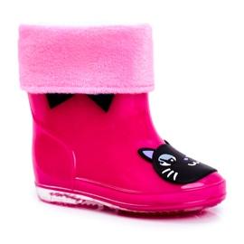 Botas de chuva de borracha infantil gato rosa preto
