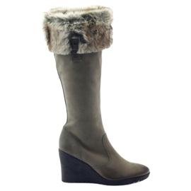Botas Caprice botas de couro das mulheres 25607 cinza
