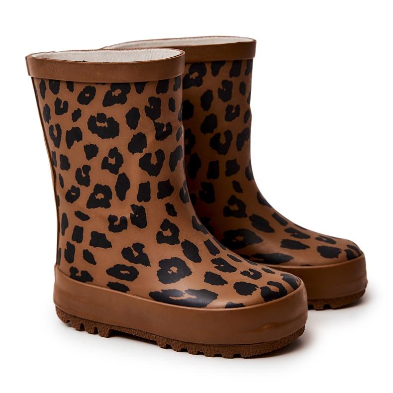 FRROCK Botas infantis de borracha marrom com estampa de leopardo Nanny castanho preto
