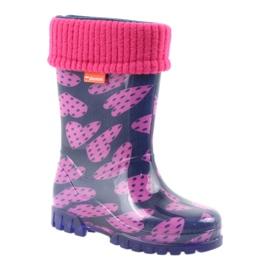 As botas de chuva infantil Demar aquecem os corações de meia rosa azul marinho 1
