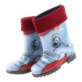 Botas infantis Demar, botas de chuva com meia quente preto vermelho azul cinza 4