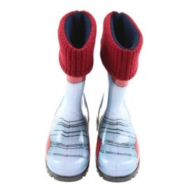 Botas infantis Demar, botas de chuva com meia quente preto vermelho azul cinza 3