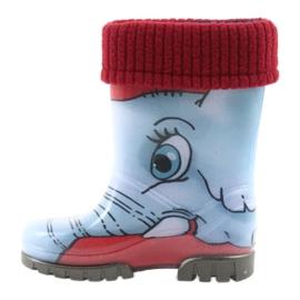 Botas infantis Demar, botas de chuva com meia quente preto vermelho azul cinza 2