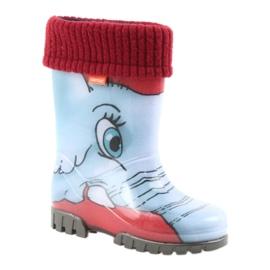 Botas infantis Demar, botas de chuva com meia quente preto vermelho azul cinza 1