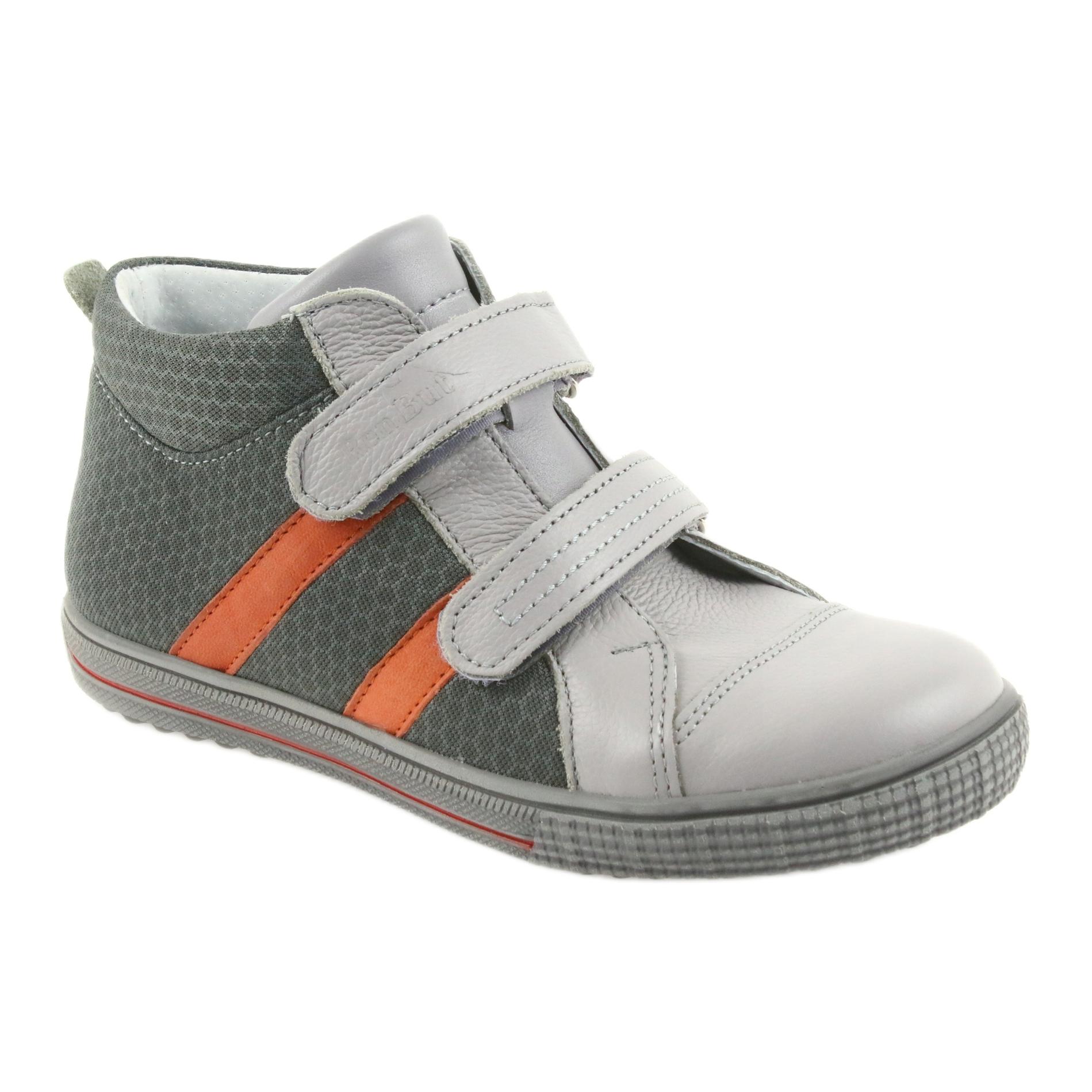 Sandálias de bebé menino cinzento e laranja com velcro