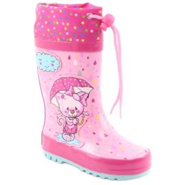 American Club Botas de chuva bebê gatinho americano azul rosa 1