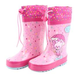 American Club Botas de chuva bebê gatinho americano azul rosa 3