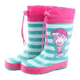 American Club Botas de chuva infantis American Kitten rosa verde 3