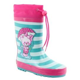 American Club Botas de chuva infantis American Kitten rosa verde 1