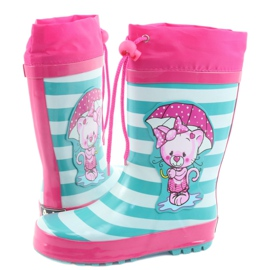 American Club Botas de chuva infantis American Kitten rosa verde 4