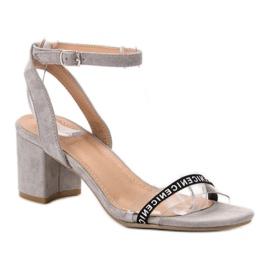 Ideal Shoes Sandálias de camurça elegantes cinza 2