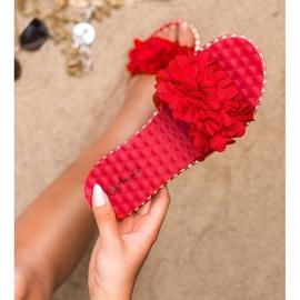 Anesia Paris Chinelos de borracha com flores vermelho 4