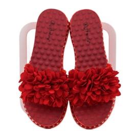 Anesia Paris Chinelos de borracha com flores vermelho 1