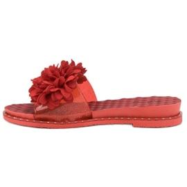 Anesia Paris Chinelos de borracha com flores vermelho 2