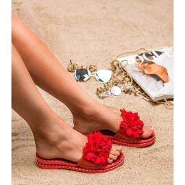 Anesia Paris Chinelos de borracha com flores vermelho 3