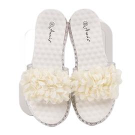 Anesia Paris Chinelos de borracha com flores branco 1
