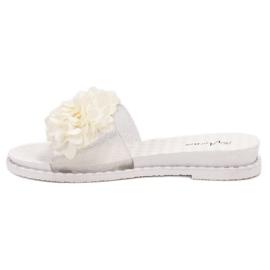 Anesia Paris Chinelos de borracha com flores branco 2