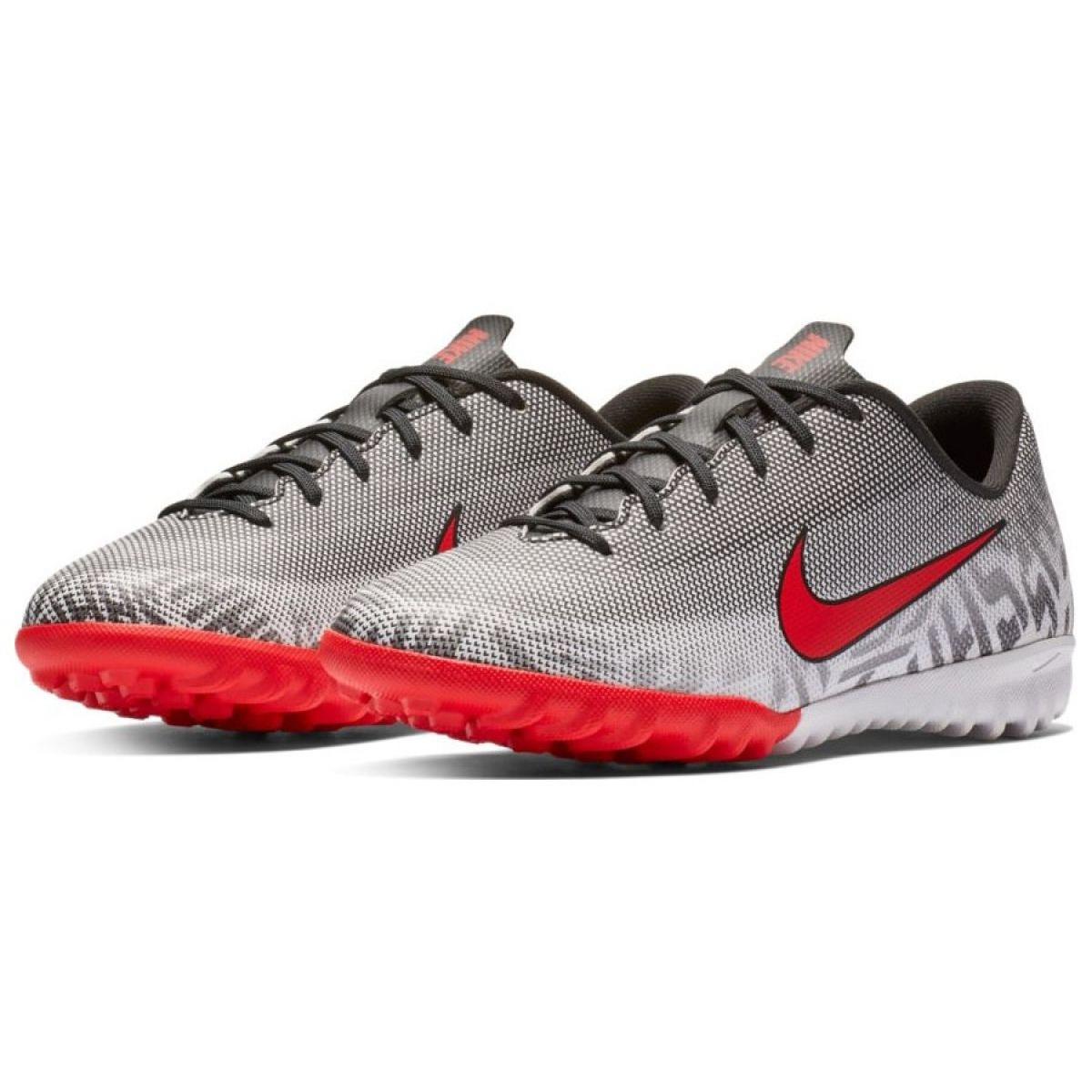 Sapatilhas de futebol Nike Mercurial Vapor 12 Academia Neymar Tf Jr AO9476 170 cinza cinza prata