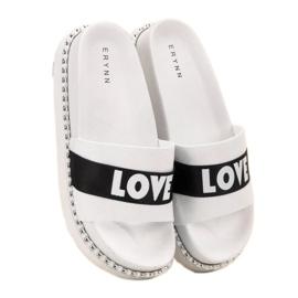 Erynn Amo chinelos de camurça branco 3
