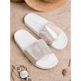 Sweet Shoes Chinelos com cristais branco cinza 2