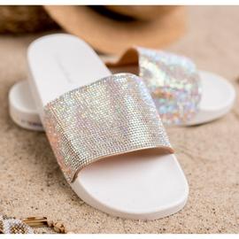 Sweet Shoes Chinelos com cristais branco cinza 1