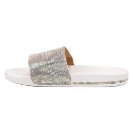 Sweet Shoes Chinelos com cristais branco cinza 3