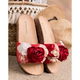 SHELOVET Chinelos de camurça com flores vermelho 5