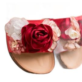 SHELOVET Chinelos de camurça com flores vermelho 4