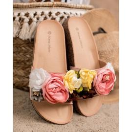 SHELOVET Chinelos de camurça com flores rosa 3