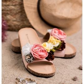 SHELOVET Chinelos de camurça com flores rosa 1