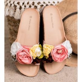 SHELOVET Chinelos de camurça com flores rosa 2