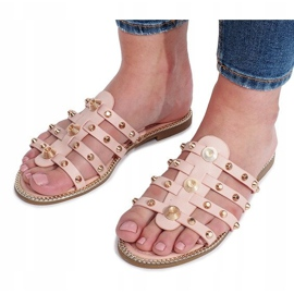 Chinelos rosa com tachas Rabelle bege 1