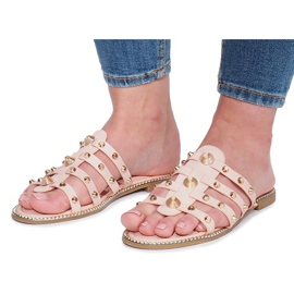 Chinelos rosa com tachas Rabelle bege 2
