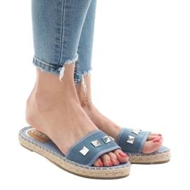 Chinelos jeans com tachas 7087 azul 1