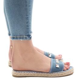 Chinelos jeans com tachas 7087 azul 2