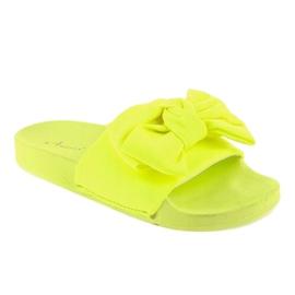 Chinelos de néon MU-6 amarelos com um laço 1