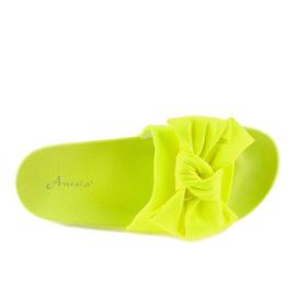 Chinelos de néon MU-6 amarelos com um laço 3