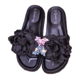 Queen Vivi Chinelos de camurça com flores preto 6