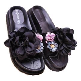Queen Vivi Chinelos de camurça com flores preto 2