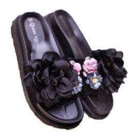 Queen Vivi Chinelos de camurça com flores preto 3