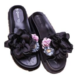 Queen Vivi Chinelos de camurça com flores preto 4
