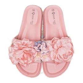 Queen Vivi Chinelos de camurça com flores rosa 2