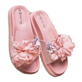 Queen Vivi Chinelos de camurça com flores rosa 4
