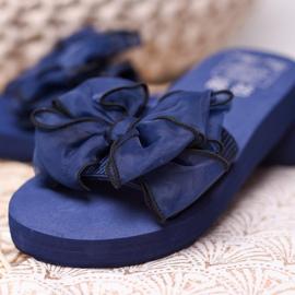 Best Shoes Chinelos de espuma com laço azul 4